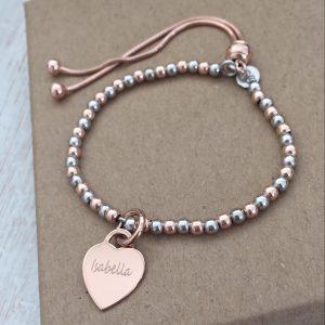 Sterling Silver & Rose Gold Vermeil Ball Slider Bracelet With Engraved Heart Charm