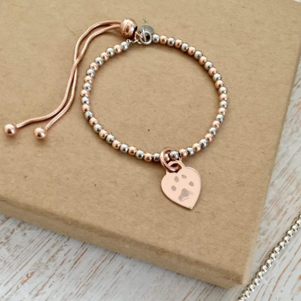 Sterling Silver & Rose Gold Vermeil Ball Slider Bracelet - Rose Gold Heart Charm With Paw Prints