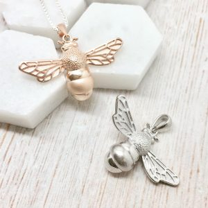 Sterling Silver & Rose Gold Vermeil Bumble Bee Necklace
