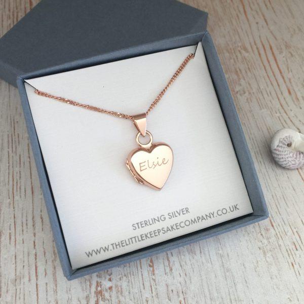 Sterling Silver Rose Gold Vermeil Engraved 'Just Words' Heart Locket