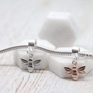 Sterling Silver Rose Gold Vermeil Honey Bee Charm