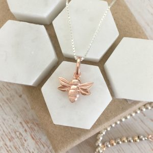 Sterling Silver & Rose Gold Vermeil Honey Bee Necklace