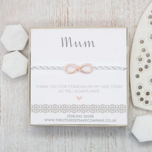 Sterling Silver & Rose Gold Vermeil Infinity Belcher Bracelet – 'Mum Thank You For Standing By My Side'