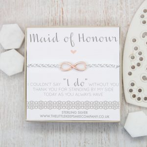 "Sterling Silver & Rose Gold Vermeil Infinity Belcher Bracelet - 'Maid Of Honour I Couldn't Say ""I Do"" Without You'"