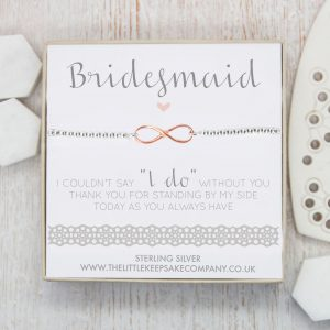 "Sterling Silver & Rose Gold Vermeil Infinity Slider Bracelet – 'Bridesmaid I Couldn't Say ""I Do"" Without You'"