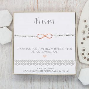 Sterling Silver & Rose Gold Vermeil Infinity Slider Bracelet - 'Mum Thank You For Standing By My Side'