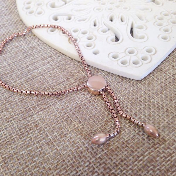 Sterling Silver & Rose Gold Vermeil Pebble Slider Bracelet