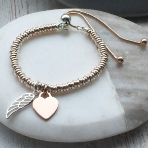 Sterling Silver & Rose Gold Vermeil Sweetie Slider Bracelet With Cutout Wing & Engraved Charm
