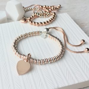 Sterling Silver & Rose Gold Vermeil Sweetie Slider Bracelet With Engraved Charm