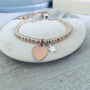Sterling Silver & Rose Gold Vermeil Sweetie Slider Bracelet With Mini Star, Engraved Charm & Handwriting