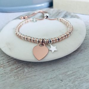 Sterling Silver & Rose Gold Vermeil Sweetie Slider Bracelet With Mini Star & Engraved Charm