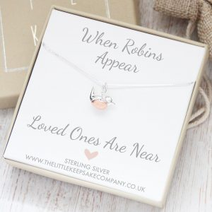 Sterling Silver & Rose Gold 'When Robins Appear' 14 Inch Necklace