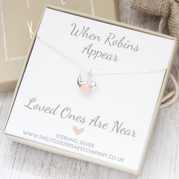 Sterling Silver & Rose Gold 'When Robins Appear' 16 Inch Necklace