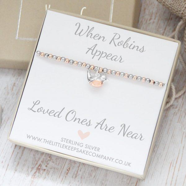 Sterling Silver & Rose Gold 'When Robins Appear' Bracelet