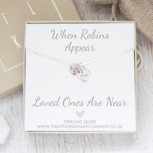 Sterling Silver & Rose Gold 'When Robins Appear' Engraved Mini Heart Necklace