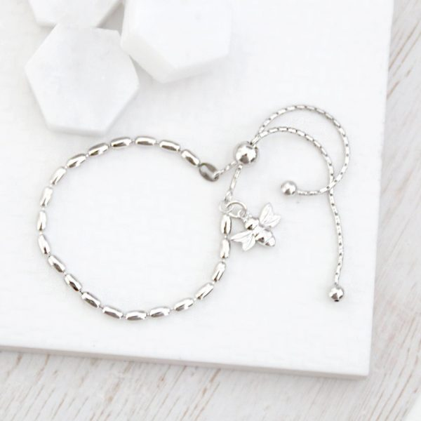 Sterling Silver Seed Slider Bracelet With Silver Baby Bee