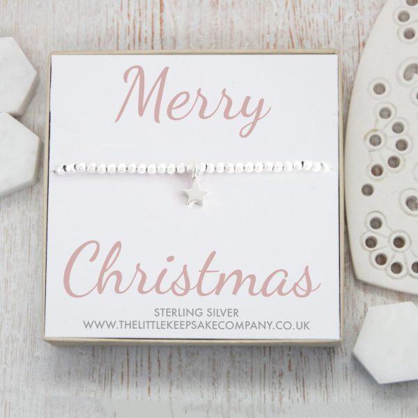 Sterling Silver Star Slider Bracelet – 'Merry Christmas'