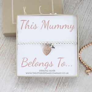 Sterling Silver 'This Mummy Belongs To' Ball Slider Bracelet With Rose Gold Heart Charm