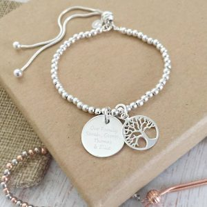 Sterling Silver Tree Of Life Slider Bracelet With Engraved Disc