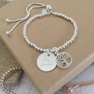 Sterling Silver Tree Of Life Slider Bracelet With Handwriting