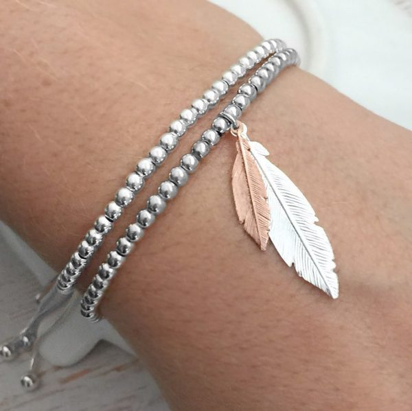 Sterling Silver 'When Feathers Appear' Ball Slider Bracelet With Silver & Rose Gold Feathers