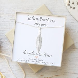 Sterling Silver 'When Feathers Appear' Large Necklace