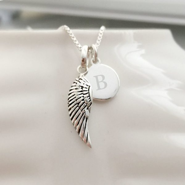 Sterling Silver Wing Necklace with Initial Disc