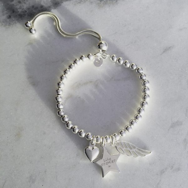 Sterling Silver Engraved Memorial Bracelet With Star Charm