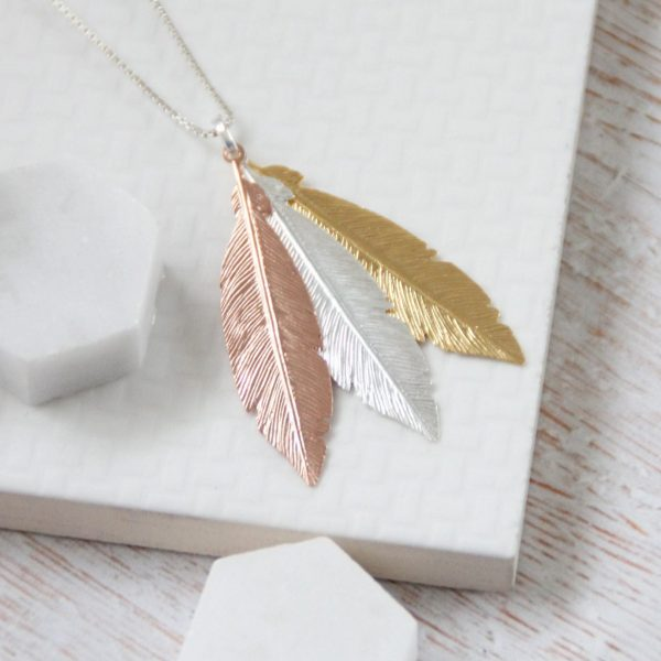 Trio Large Rose Gold, Silver & Yellow Gold Feathers Necklace