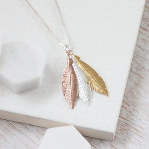 Trio Medium Rose Gold, Silver & Yellow Gold Feathers Necklace