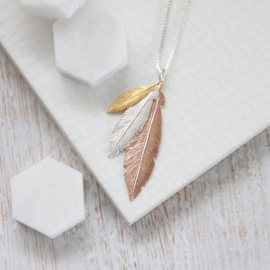Trio Mini Yellow Gold, Medium Silver & Large Rose Gold Feathers Necklace