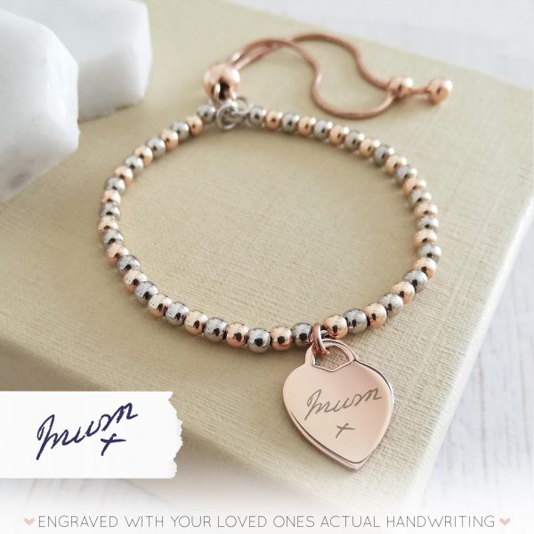 Sterling Silver & Rose Gold Vermeil Ball Slider Bracelet - With Rose Gold Handwriting Heart Charm