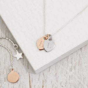 Two Tone Mini Heart Initial Necklace