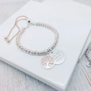 Two Tone Sweetie Bracelet With Silver Engraved Disc & Rose Gold Tree Of Life