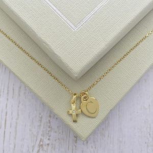 Yellow Gold Vermeil Junior Crucifix Necklace With Engraved Dinky Heart Charm