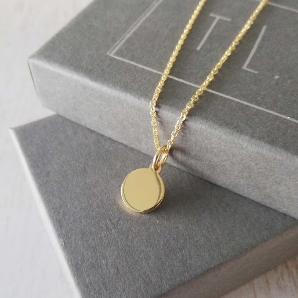 Yellow Gold Initial Disc Necklace