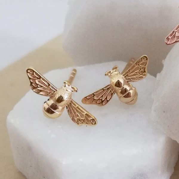 Yellow Gold Vermeil Bumble Bee Earrings