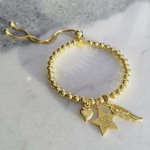 Yellow Gold Vermeil Engraved Memorial Bracelet With Star Charm