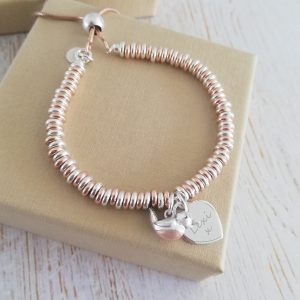 Baby Robin 'When Robins Appear' Sterling Silver & Rose Gold Sweetie Bracelet With Engraved Silver Heart