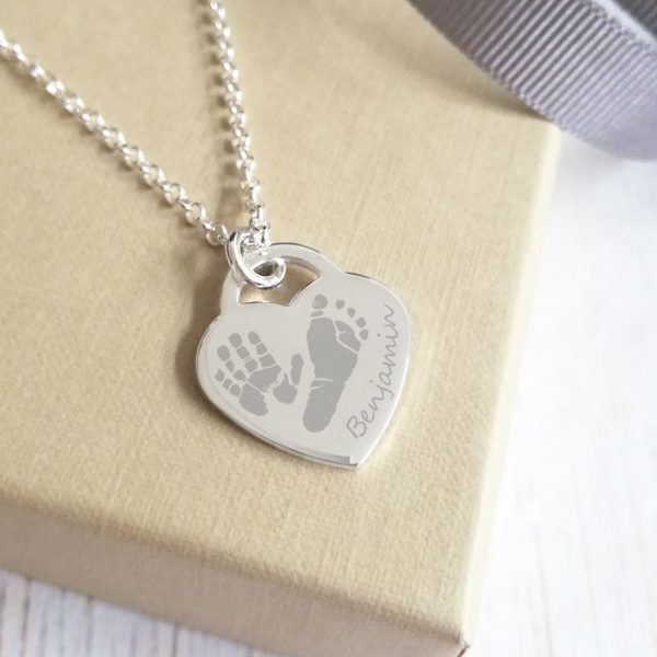 Sterling Silver Engraved Heart Necklace With Prints – 1 Child