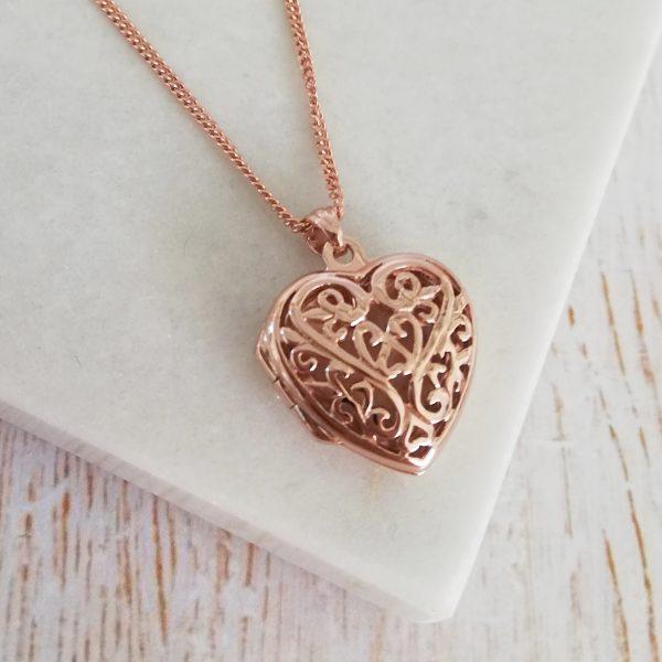 Rose Gold Vermeil Engraved Filigree Heart Locket Necklace