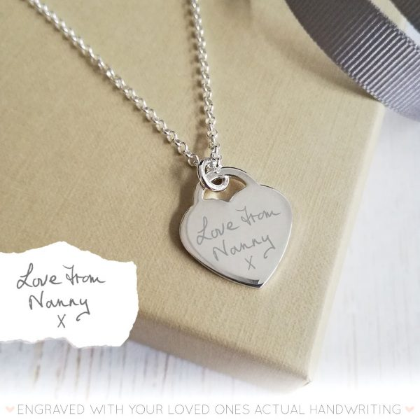 Sterling Silver Handwriting Heart Necklace