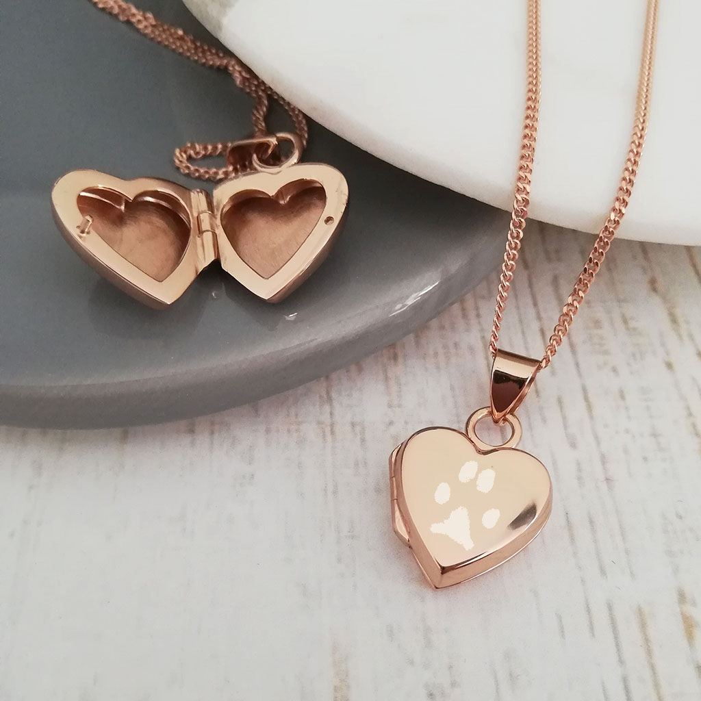 Rose Gold Vermeil Engraved Paw Print Heart Locket Necklace The Perfect Keepsake Gift
