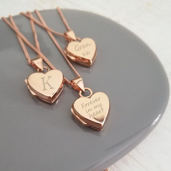 Rose Gold Vermeil Engraved 'Just Words' Heart Locket Necklace