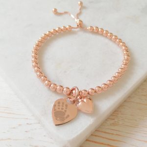 Rose Gold Vermeil Ball Slider Bracelet - Rose Gold Heart Charm With Prints