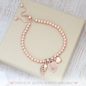 Rose Gold Vermeil Engraved Memorial Bracelet With Prints