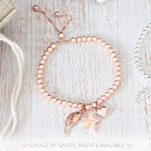 Rose Gold Vermeil Engraved Memorial Bracelet With Star Charm