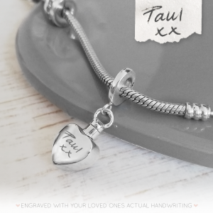 Sterling Silver Handwriting Small Heart Urn Charm