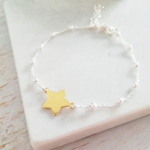 Sterling Silver Ball Chain Bracelet With Yellow Gold Vermeil Star