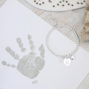 Sterling Silver Ball Slider Bracelet - Silver Heart With Prints & Pearl Charm